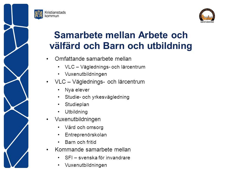 Samarbete mellan Arbete och välfärd och Barn och utbildning Omfattande samarbete mellan VLC – Väglednings- och lärcentrum Vuxenutbildningen VLC – Vägl