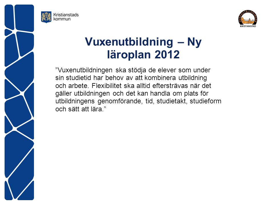 """Vuxenutbildning – Ny läroplan 2012 """"Vuxenutbildningen ska stödja de elever som under sin studietid har behov av att kombinera utbildning och arbete. F"""