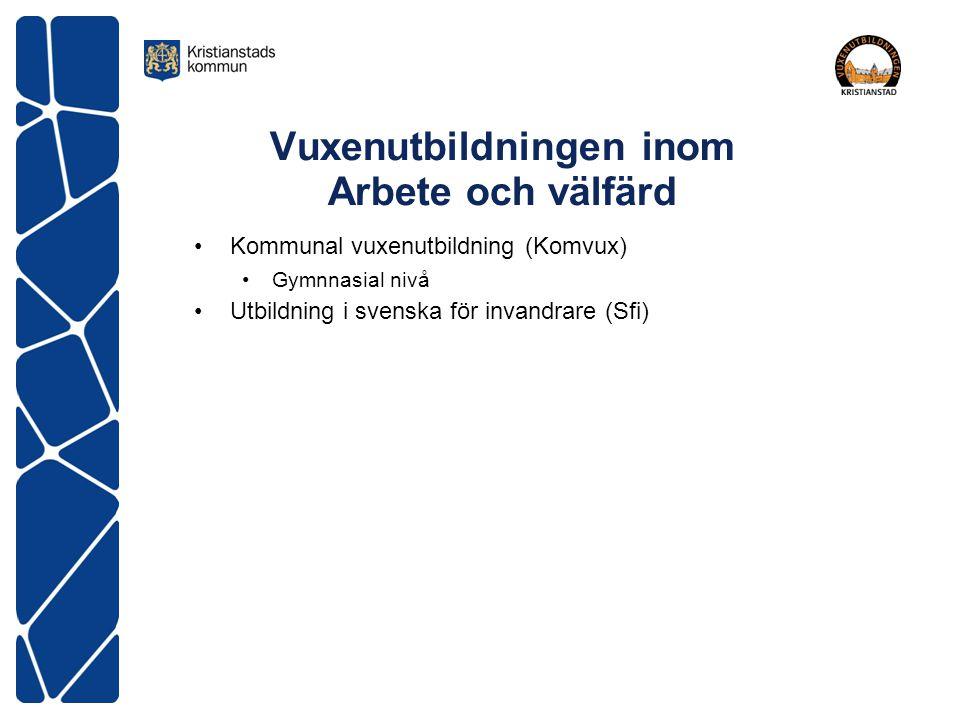 Vuxenutbildningen inom Arbete och välfärd Kommunal vuxenutbildning (Komvux) Gymnnasial nivå Utbildning i svenska för invandrare (Sfi)