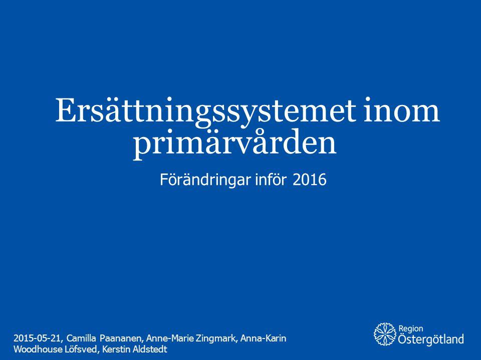 Region Östergötland Ersättningssystemet inom primärvården Förändringar inför 2016 2015-05-21, Camilla Paananen, Anne-Marie Zingmark, Anna-Karin Woodho