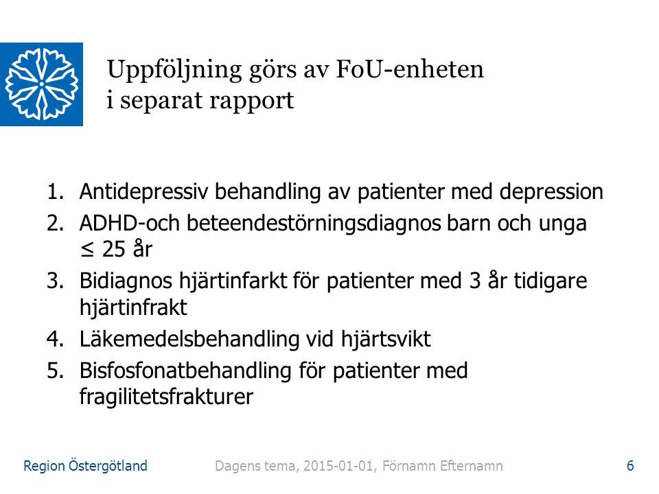 Region Östergötland 1.Antidepressiv behandling av patienter med depression 2.ADHD-och beteendestörningsdiagnos barn och unga ≤ 25 år 3.Bidiagnos hjärt