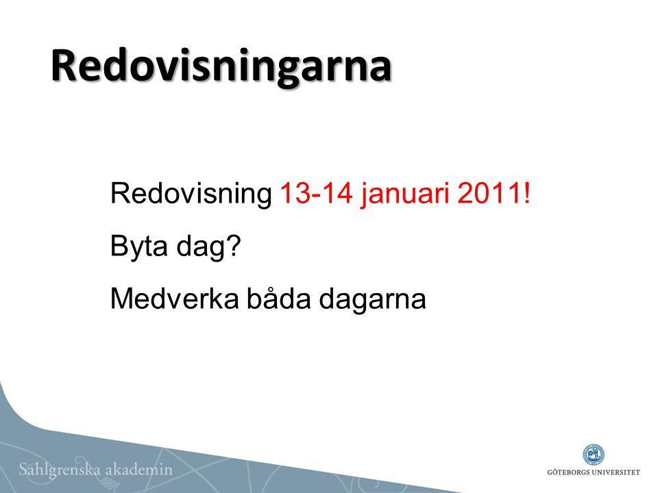Redovisningarna Redovisning 13-14 januari 2011! Byta dag? Medverka båda dagarna