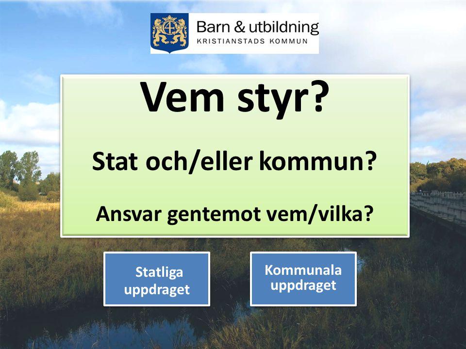 1 Vem styr? Stat och/eller kommun? Ansvar gentemot vem/vilka? Vem styr? Stat och/eller kommun? Ansvar gentemot vem/vilka? Statliga uppdraget Kommunala
