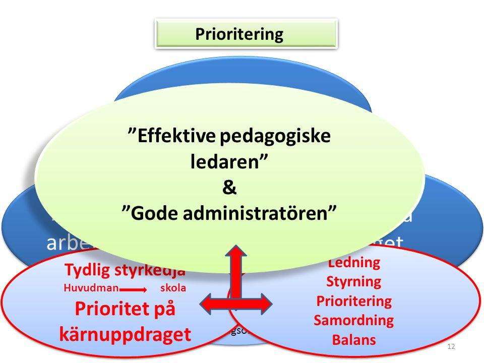 12 Administrativa arbetsuppgifter Pedagogiska uppdraget Arbetsgivarrollen Tydlighet Kommunikation Höga förväntningar Prioriteringar Målfokus Utvecklin