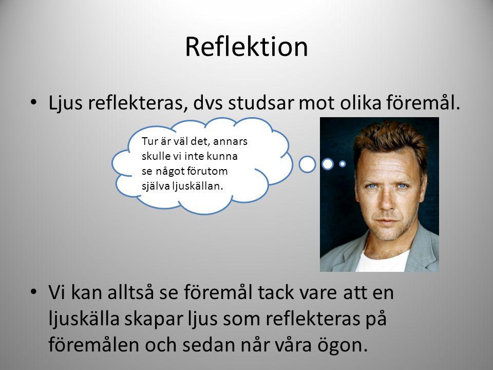 Reflektion Ljus reflekteras, dvs studsar mot olika föremål.
