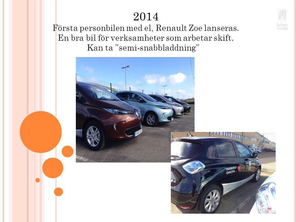 """2014 Första personbilen med el, Renault Zoe lanseras. En bra bil för verksamheter som arbetar skift. Kan ta """"semi-snabbladdning""""""""."""