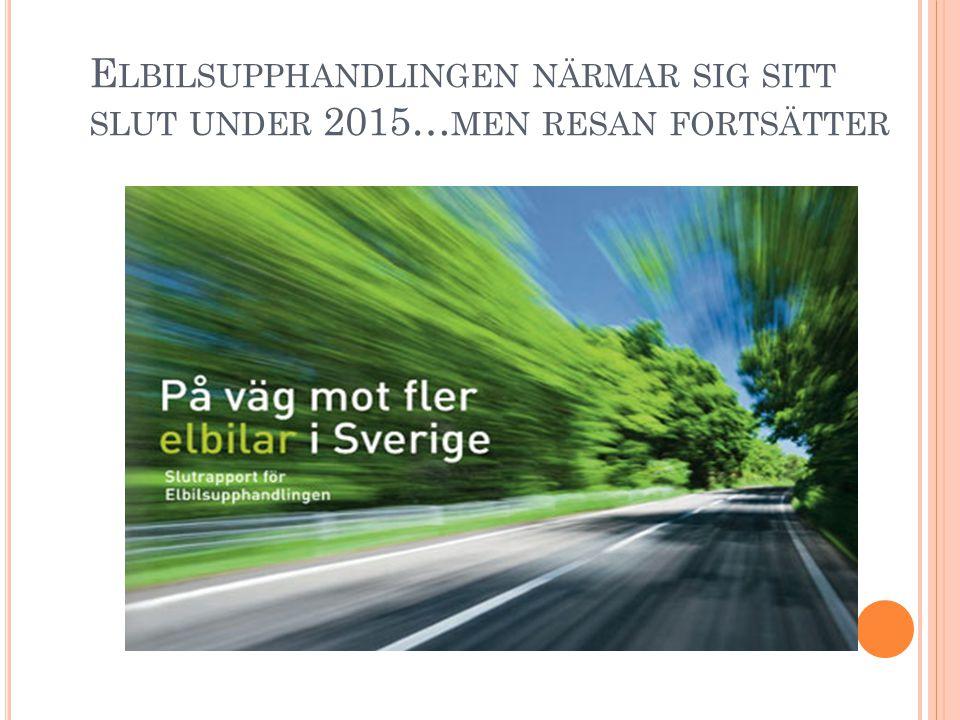 E LBILSUPPHANDLINGEN NÄRMAR SIG SITT SLUT UNDER 2015… MEN RESAN FORTSÄTTER