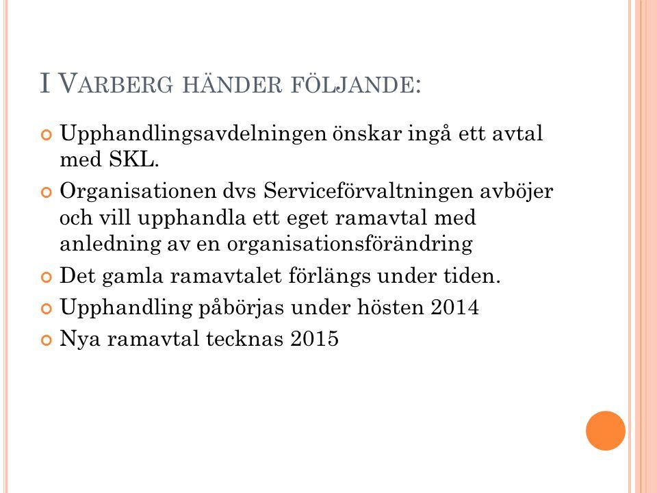 I V ARBERG HÄNDER FÖLJANDE : Upphandlingsavdelningen önskar ingå ett avtal med SKL. Organisationen dvs Serviceförvaltningen avböjer och vill upphandla