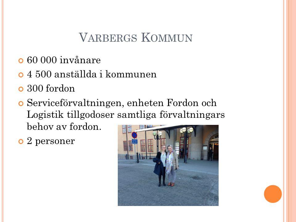 V ARBERGS K OMMUN 60 000 invånare 4 500 anställda i kommunen 300 fordon Serviceförvaltningen, enheten Fordon och Logistik tillgodoser samtliga förvalt