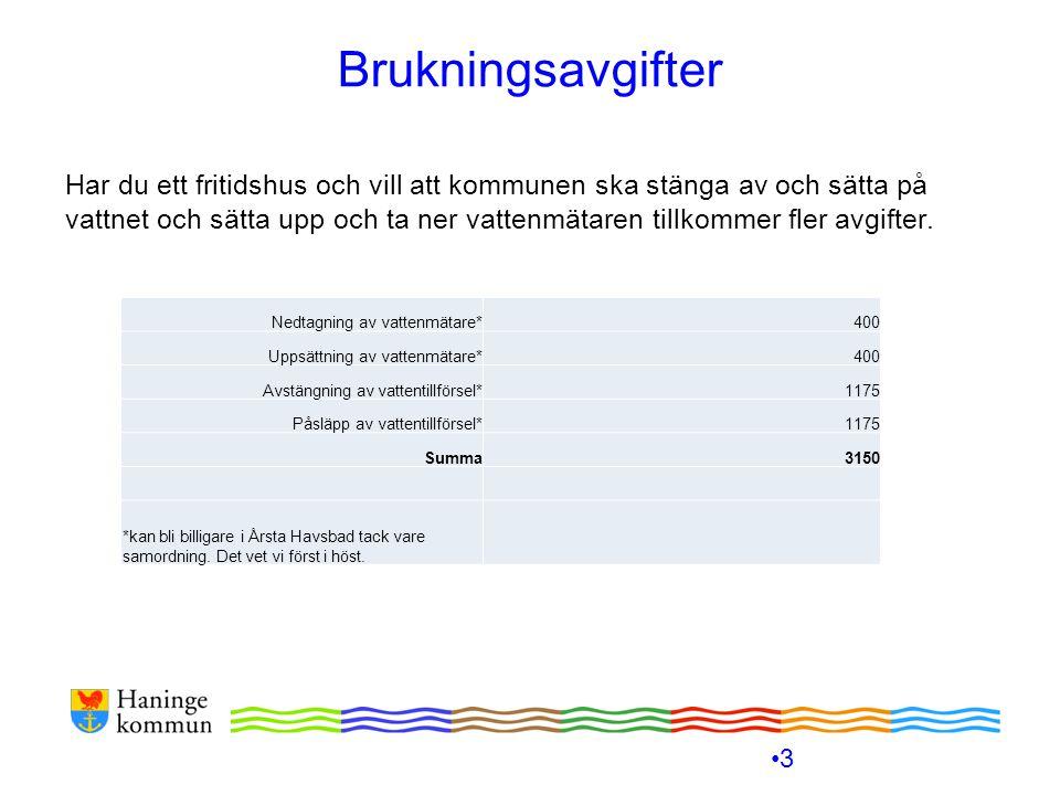 Brukningsavgifter För att du ska kunna uppskatta hur stora dina brukningsavgifter kommer att bli finns det i den här presentationen grafer.