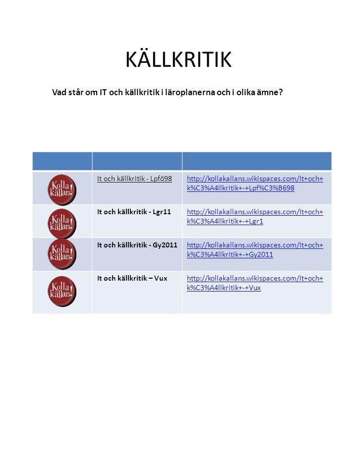 KÄLLKRITIK It och källkritik - Lpfö98http://kollakallans.wikispaces.com/It+och+ k%C3%A4llkritik+-+Lpf%C3%B698 It och källkritik - Lgr11http://kollakallans.wikispaces.com/It+och+ k%C3%A4llkritik+-+Lgr1 It och källkritik - Gy2011http://kollakallans.wikispaces.com/It+och+ k%C3%A4llkritik+-+Gy2011 It och källkritik – Vuxhttp://kollakallans.wikispaces.com/It+och+ k%C3%A4llkritik+-+Vux Vad står om IT och källkritik i läroplanerna och i olika ämne?