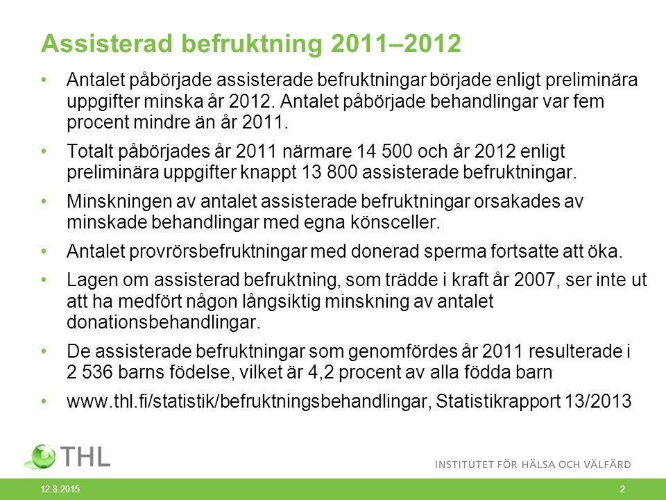 Assisterad befruktning 2011–2012 Antalet påbörjade assisterade befruktningar började enligt preliminära uppgifter minska år 2012. Antalet påbörjade be