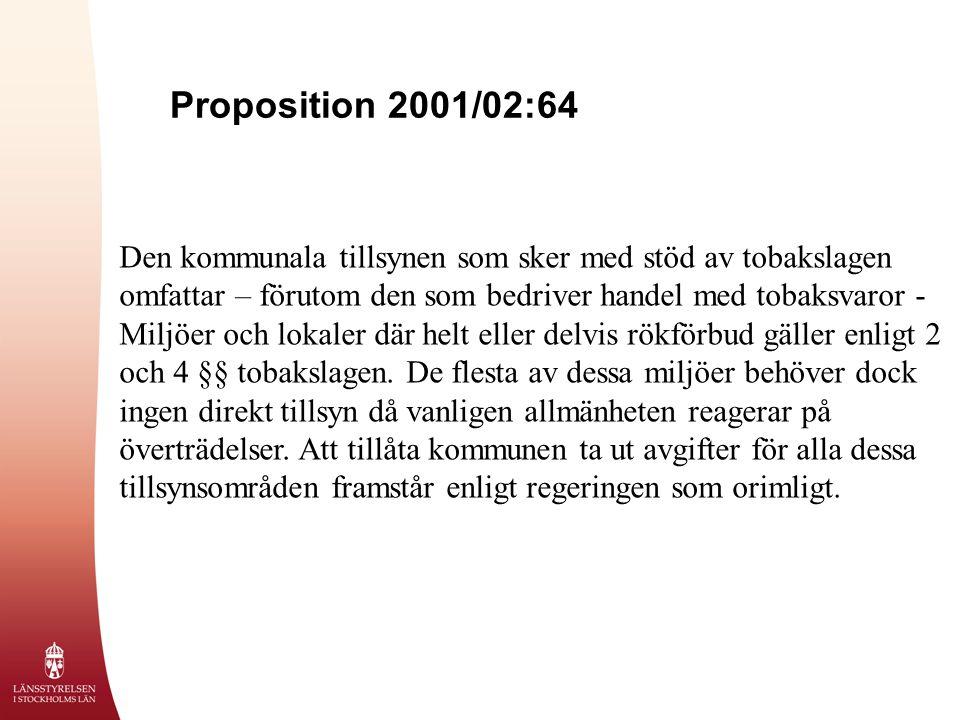 Proposition 2001/02:64 Den kommunala tillsynen som sker med stöd av tobakslagen omfattar – förutom den som bedriver handel med tobaksvaror - Miljöer och lokaler där helt eller delvis rökförbud gäller enligt 2 och 4 §§ tobakslagen.