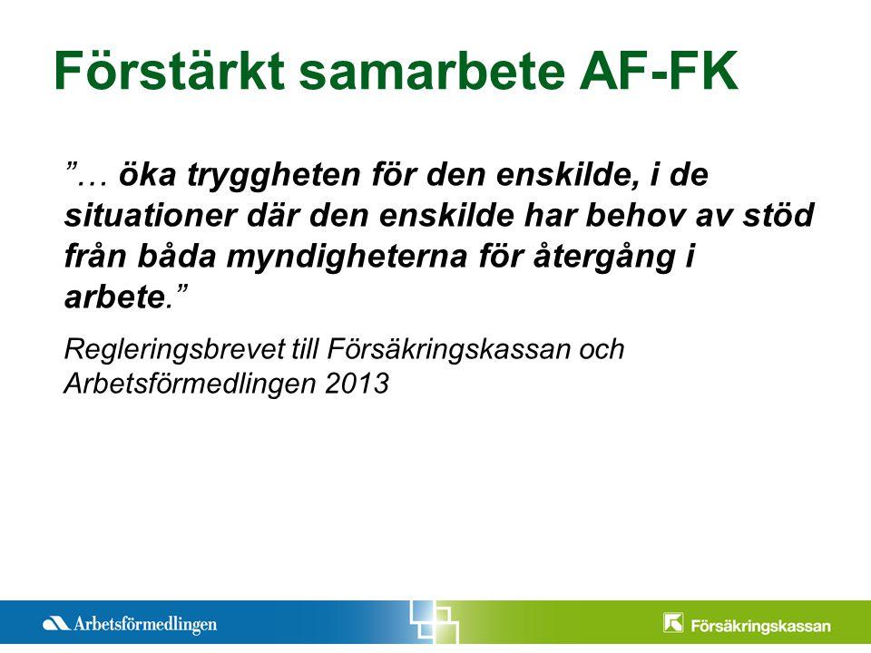 Presentationstitel Månad 200X Sida 2 Förstärkt samarbete AF-FK … öka tryggheten för den enskilde, i de situationer där den enskilde har behov av stöd från båda myndigheterna för återgång i arbete. Regleringsbrevet till Försäkringskassan och Arbetsförmedlingen 2013