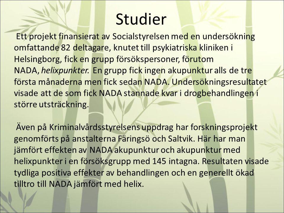 Studier Ett projekt finansierat av Socialstyrelsen med en undersökning omfattande 82 deltagare, knutet till psykiatriska kliniken i Helsingborg, fick