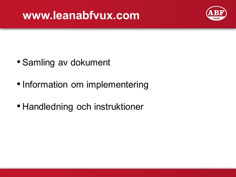www.leanabfvux.com Samling av dokument Information om implementering Handledning och instruktioner