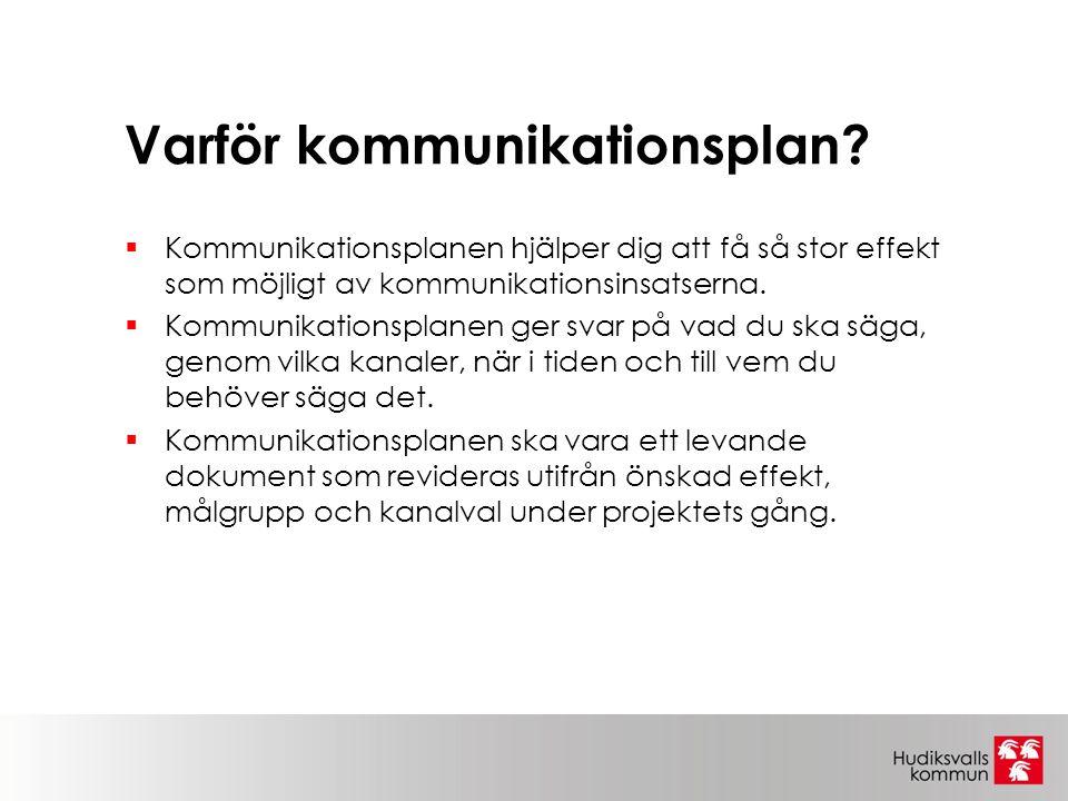 Varför kommunikationsplan?  Kommunikationsplanen hjälper dig att få så stor effekt som möjligt av kommunikationsinsatserna.  Kommunikationsplanen ge