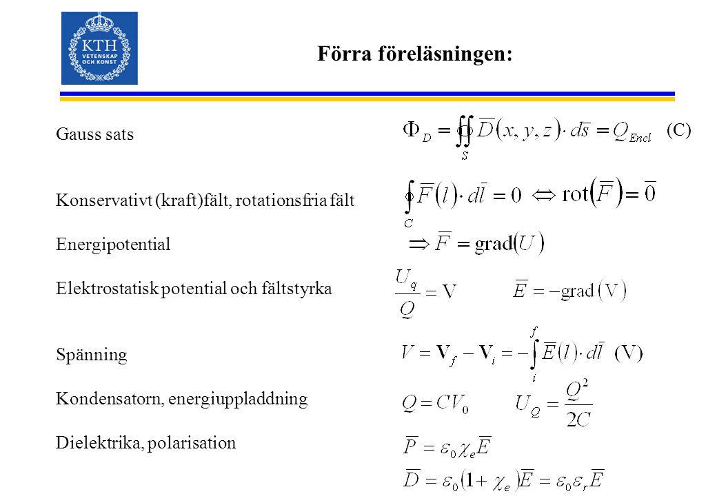 Förra föreläsningen: Gauss sats Konservativt (kraft)fält, rotationsfria fält Energipotential Elektrostatisk potential och fältstyrka Spänning Kondensatorn, energiuppladdning Dielektrika, polarisation (C)