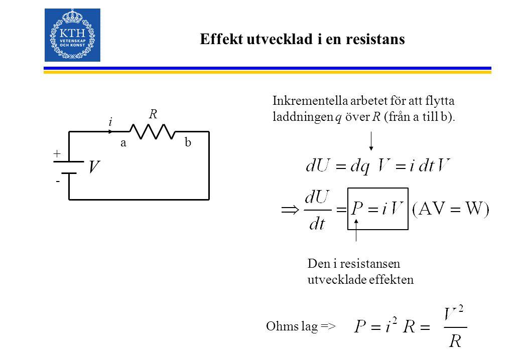 Effekt utvecklad i en resistans + - R V i Inkrementella arbetet för att flytta laddningen q över R (från a till b).