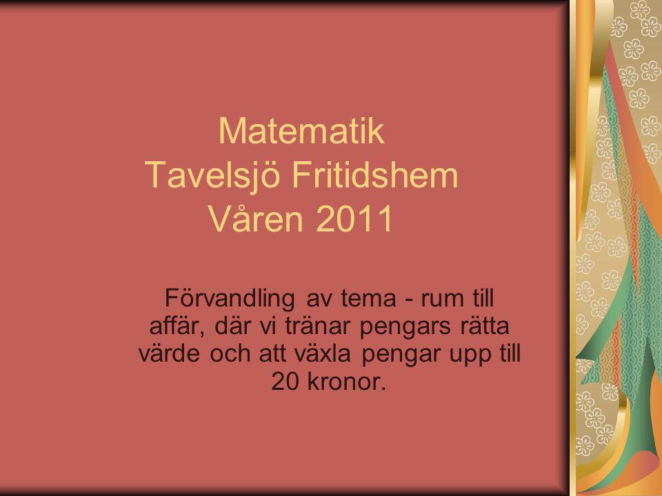 Matematik Tavelsjö Fritidshem Våren 2011 Förvandling av tema - rum till affär, där vi tränar pengars rätta värde och att växla pengar upp till 20 kronor.