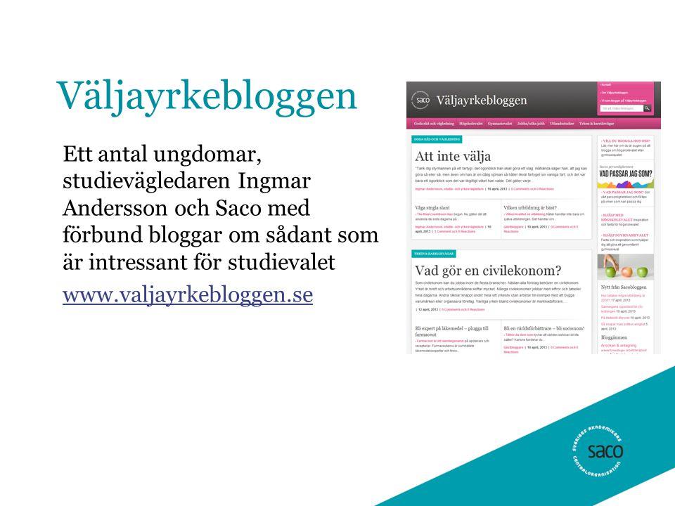 Väljayrkebloggen Ett antal ungdomar, studievägledaren Ingmar Andersson och Saco med förbund bloggar om sådant som är intressant för studievalet www.valjayrkebloggen.se
