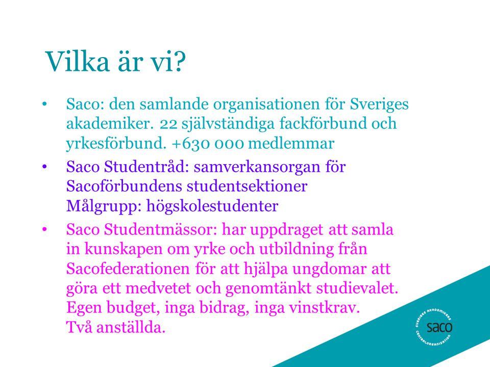 Vilka är vi. Saco: den samlande organisationen för Sveriges akademiker.