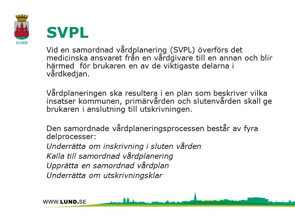 SVPL Vid en samordnad vårdplanering (SVPL) överförs det medicinska ansvaret från en vårdgivare till en annan och blir härmed för brukaren en av de viktigaste delarna i vårdkedjan.