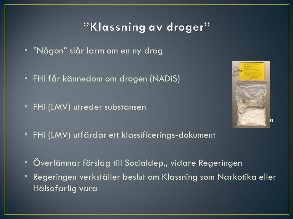 """""""Någon"""" slår larm om en ny drog FHI får kännedom om drogen (NADiS) FHI (LMV) utreder substansen FHI (LMV) utfärdar ett klassificerings-dokument Överlä"""