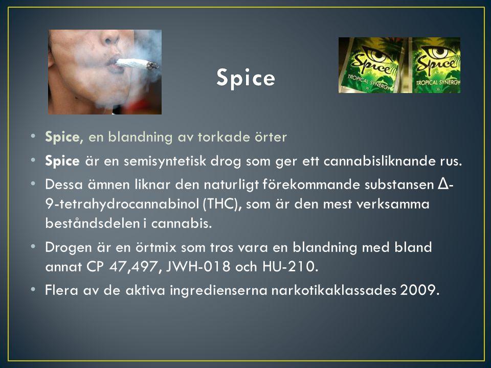 Spice, en blandning av torkade örter Spice är en semisyntetisk drog som ger ett cannabisliknande rus. Dessa ämnen liknar den naturligt förekommande su