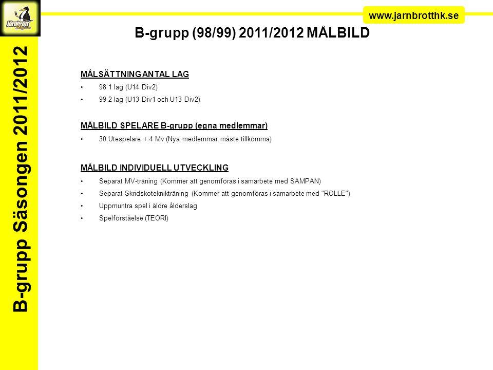 Ledarkonferens www.jarnbrotthk.se B-grupp Säsongen 2011/2012 B-grupp (98/99) 2011/2012 MÅLBILD MÅLSÄTTNING ANTAL LAG 98 1 lag (U14 Div2) 99 2 lag (U13 Div1 och U13 Div2) MÅLBILD SPELARE B-grupp (egna medlemmar) 30 Utespelare + 4 Mv (Nya medlemmar måste tillkomma) MÅLBILD INDIVIDUELL UTVECKLING Separat MV-träning (Kommer att genomföras i samarbete med SAMPAN) Separat Skridskoteknikträning (Kommer att genomföras i samarbete med ROLLE ) Uppmuntra spel i äldre ålderslag Spelförståelse (TEORI)