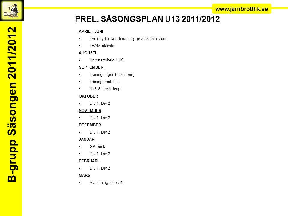 Ledarkonferens www.jarnbrotthk.se B-grupp Säsongen 2011/2012 FÖRSÄSONGS SCHEMA U13 MånMånTisOnsTorsFreLörLörSönSön V13: 22/3-3/4 V14: V15: V16: V19: Fys med Pekka 18-19 Klubbstugan V20: Fys med Pekka 18-19 KlubbstuganTEAM aktivitet V21: Fys med Pekka 18-19 Klubbstugan V22: Fys med Pekka 18-19 Klubbstugan V23: Fys med Pekka 18-19 Klubbstugan V24: Fys med Pekka 18-19 Klubbstugan V25: Fys med Pekka 18-19 Klubbstugan V26Tr ä ning p å egen hand enligt schema V34