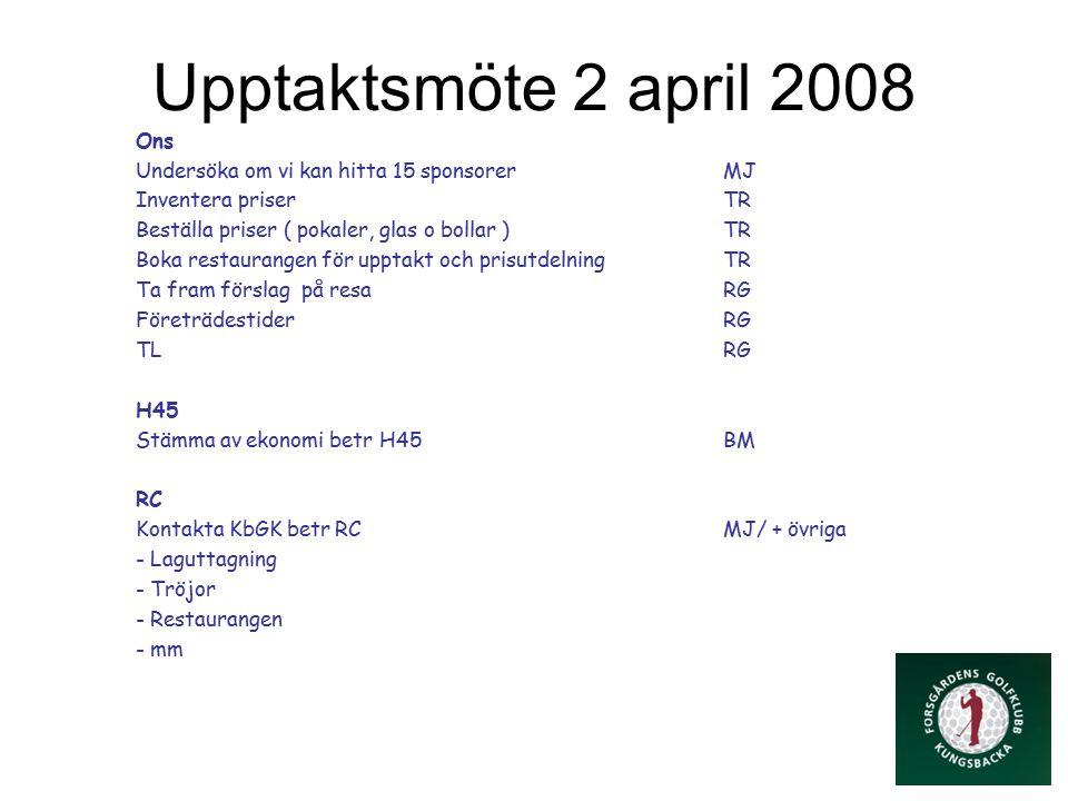 Upptaktsmöte 2 april 2008 Ons Undersöka om vi kan hitta 15 sponsorerMJ Inventera priserTR Beställa priser ( pokaler, glas o bollar )TR Boka restaurangen för upptakt och prisutdelningTR Ta fram förslag på resaRG FöreträdestiderRG TLRG H45 Stämma av ekonomi betr H45BM RC Kontakta KbGK betr RCMJ/ + övriga - Laguttagning - Tröjor - Restaurangen - mm