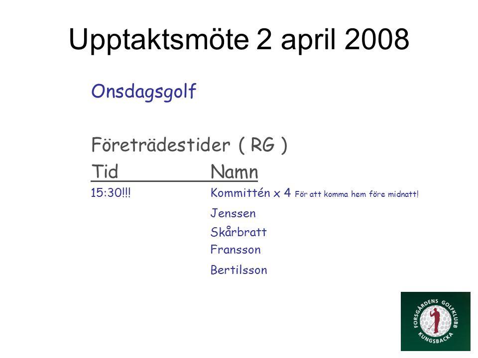 Upptaktsmöte 2 april 2008 Onsdagsgolf Företrädestider ( RG ) TidNamn 15:30!!.