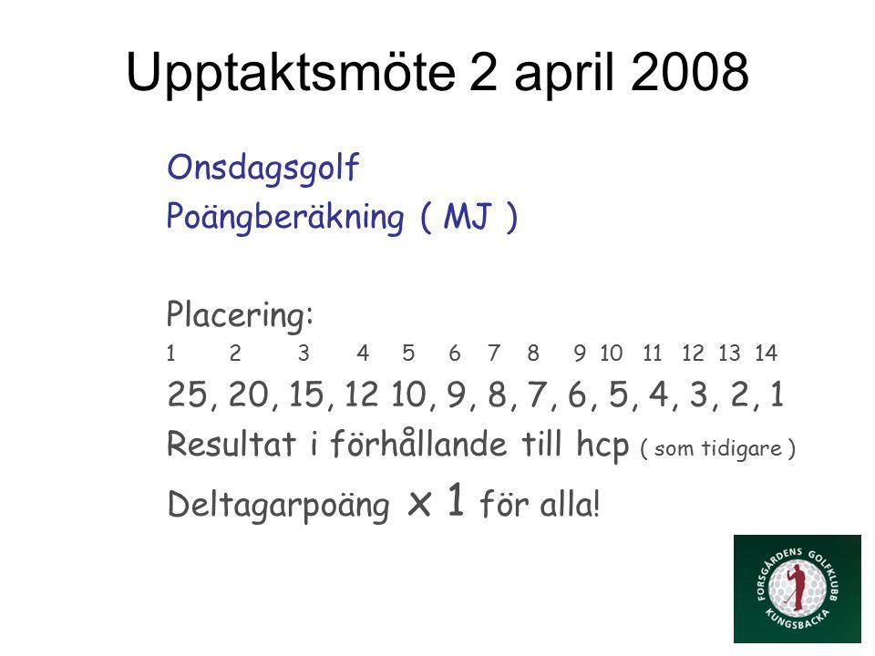 Upptaktsmöte 2 april 2008 Onsdagsgolf Poängberäkning ( MJ ) Placering: 1 2 3 4 5 6 7 8 9 10 11 12 13 14 25, 20, 15, 12 10, 9, 8, 7, 6, 5, 4, 3, 2, 1 Resultat i förhållande till hcp ( som tidigare ) Deltagarpoäng x 1 för alla!