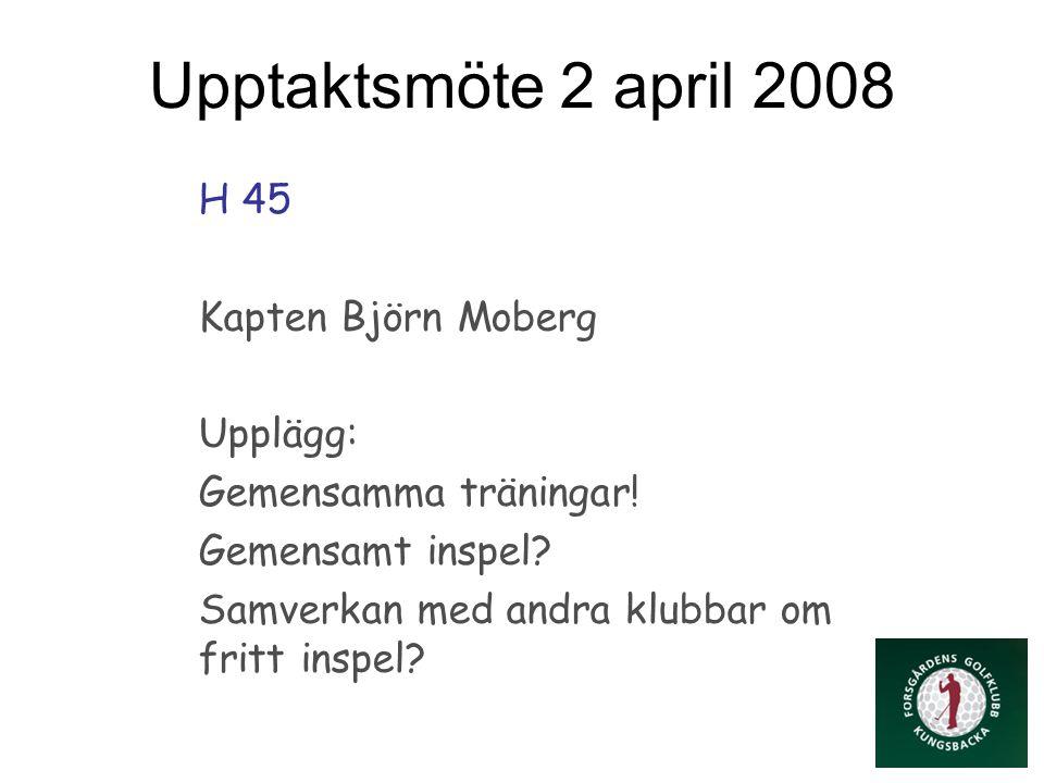 Upptaktsmöte 2 april 2008 H 45 Kapten Björn Moberg Upplägg: Gemensamma träningar.