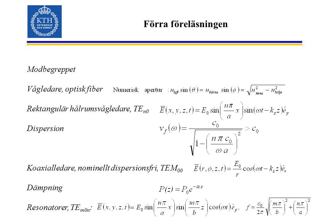 Förra föreläsningen Modbegreppet Vågledare, optisk fiber Rektangulär hålrumsvågledare, TE n0 Dispersion Koaxialledare, nominellt dispersionsfri, TEM 0