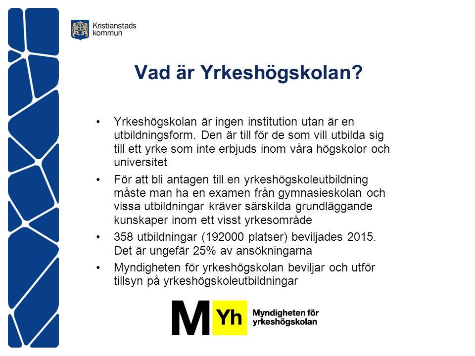 Vad är Yrkeshögskolan. Yrkeshögskolan är ingen institution utan är en utbildningsform.