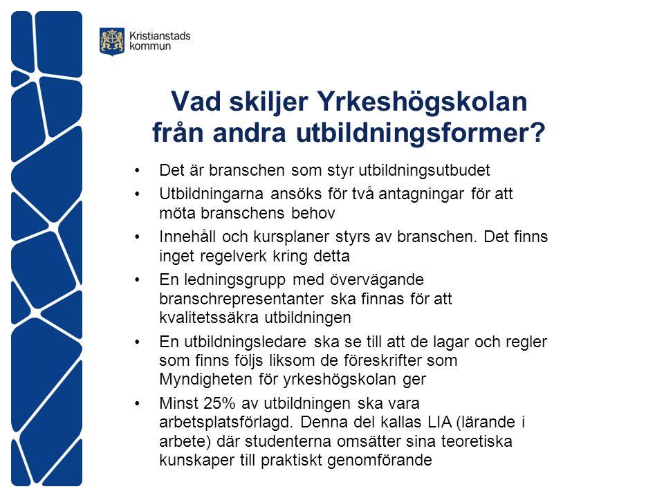 Vad skiljer Yrkeshögskolan från andra utbildningsformer.