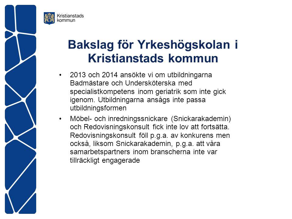 Bakslag för Yrkeshögskolan i Kristianstads kommun 2013 och 2014 ansökte vi om utbildningarna Badmästare och Undersköterska med specialistkompetens inom geriatrik som inte gick igenom.