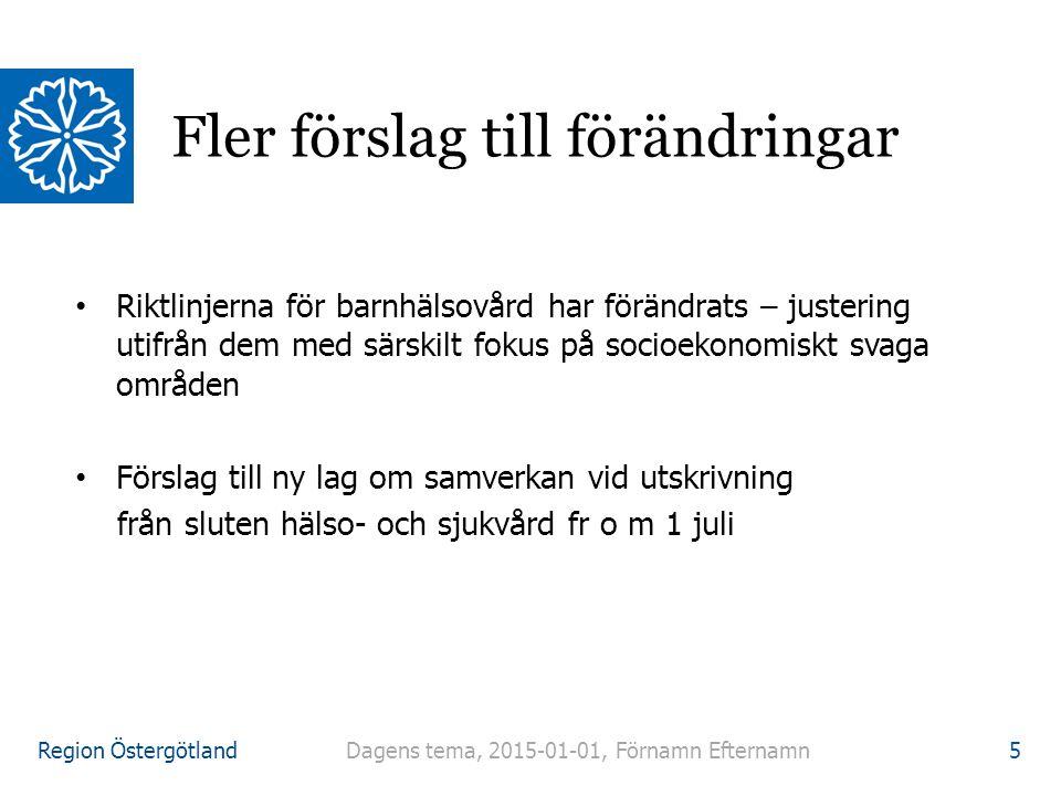 Region Östergötland Riktlinjerna för barnhälsovård har förändrats – justering utifrån dem med särskilt fokus på socioekonomiskt svaga områden Förslag till ny lag om samverkan vid utskrivning från sluten hälso- och sjukvård fr o m 1 juli Fler förslag till förändringar Dagens tema, 2015-01-01, Förnamn Efternamn 5