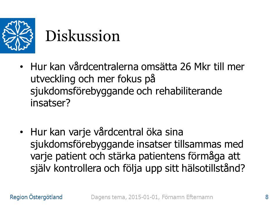 Region Östergötland Hur kan vårdcentralerna omsätta 26 Mkr till mer utveckling och mer fokus på sjukdomsförebyggande och rehabiliterande insatser.