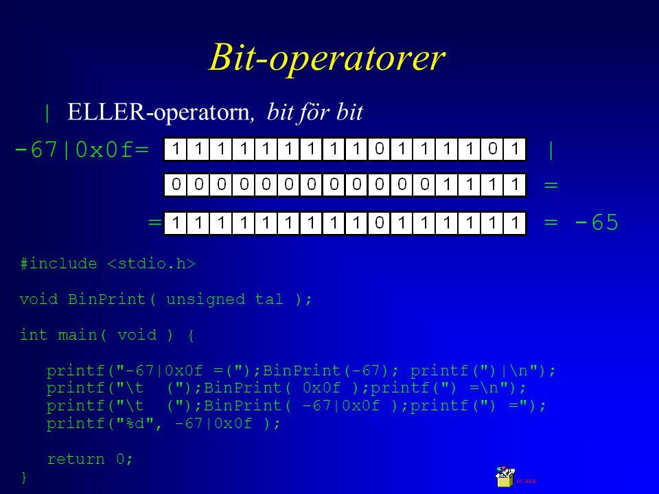Bit-operatorer | ELLER-operatorn, bit för bit -67|0x0f= | = = = -65 #include void BinPrint( unsigned tal ); int main( void ) { printf( -67|0x0f =( );BinPrint(-67); printf( )|\n ); printf( \t ( );BinPrint( 0x0f );printf( ) =\n ); printf( \t ( );BinPrint( -67|0x0f );printf( ) = ); printf( %d , -67|0x0f ); return 0; } or.exe