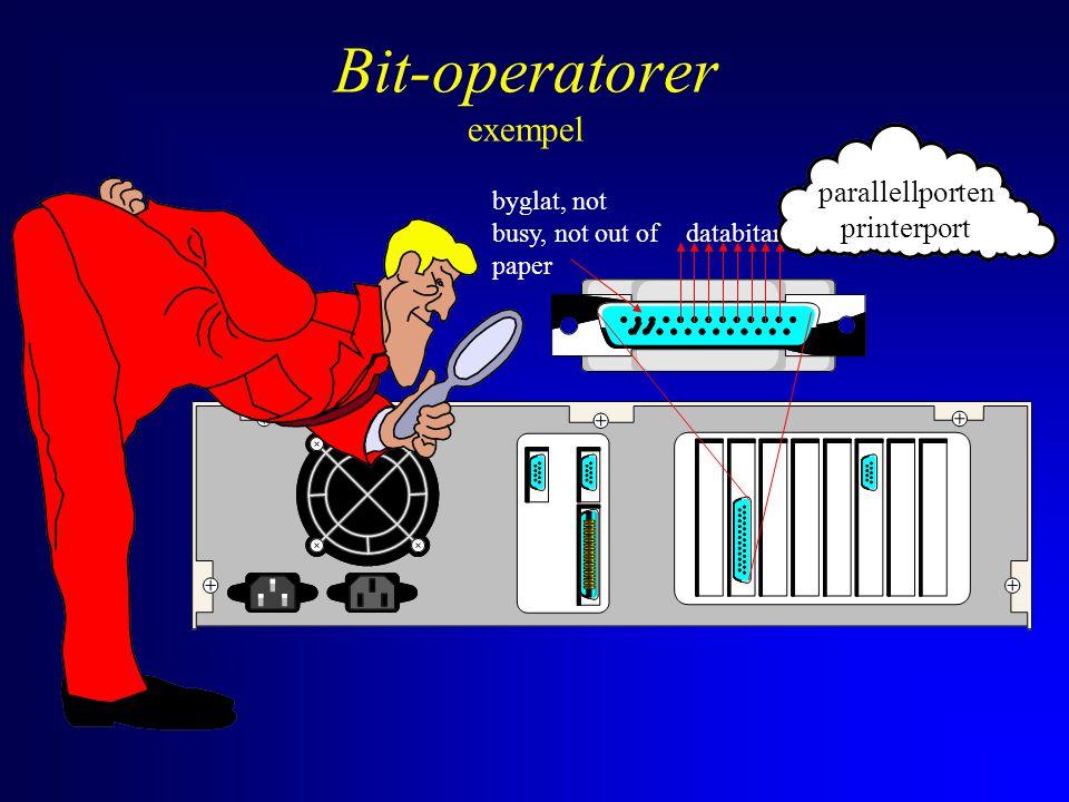 databitar byglat, not busy, not out of paper parallellporten printerport