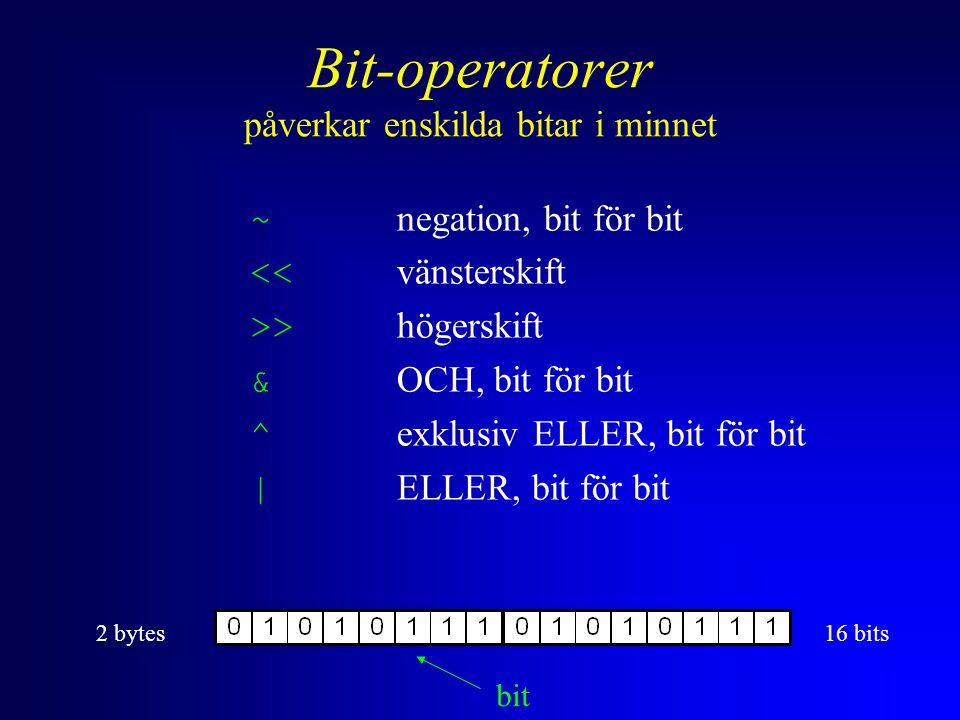 Bit-operatorer påverkar enskilda bitar i minnet ~ negation, bit för bit << vänsterskift >> högerskift & OCH, bit för bit ^ exklusiv ELLER, bit för bit | ELLER, bit för bit 2 bytes16 bits bit