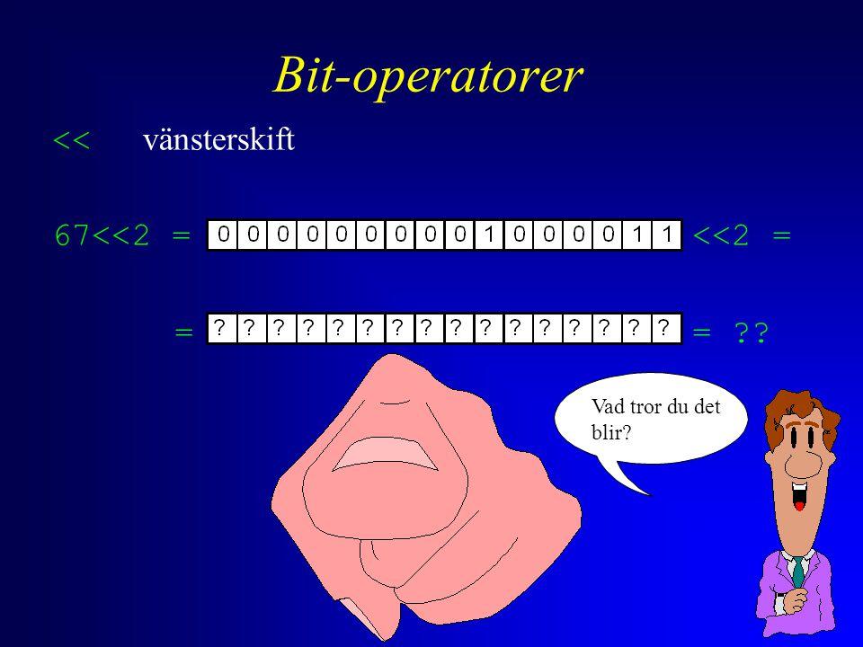 Bit-operatorer << vänsterskift 67<<2 = <<2 = == Vad tror du det blir