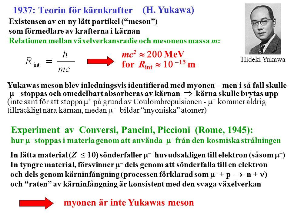 """1937: Teorin för kärnkrafter (H. Yukawa) Existensen av en ny lätt partikel (""""meson"""") som förmedlare av krafterna i kärnan Relationen mellan växelverka"""