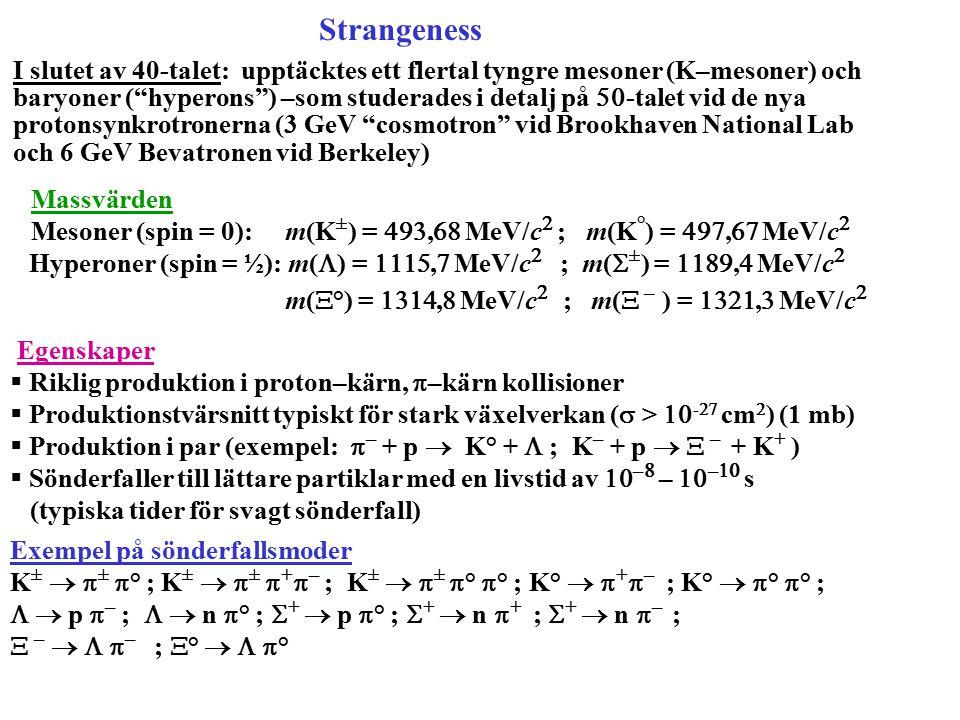 """Strangeness I slutet av 40-talet: upptäcktes ett flertal tyngre mesoner (K–mesoner) och baryoner (""""hyperons"""") –som studerades i detalj på  -talet vi"""