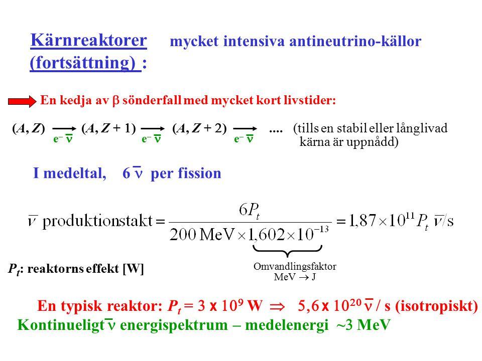 Första neutrinodetektionen (Reines (NP 1995), Cowan 1953) + p  e + + n  detekterar  MeV  -rays from e + e –   (Vid t =  ) E  =  MeV  neutron- nedbromsning följd av infångning i Cd kärna  emission av fördröjd  -strålning ( ~   s) H  O + CdCl  I, II, III: Vätskescintillatorer  m Event rate vid Savannah River nuclear power plant:  event  timme (efter subtraktion av eventraten mätt med reaktorn OFF ) i överensstämmelse med beräkningar