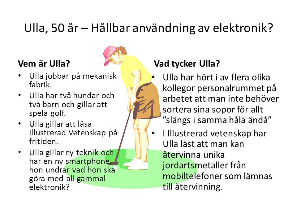 Ulla, 50 år – Hållbar användning av elektronik? Vem är Ulla? Ulla jobbar på mekanisk fabrik. Ulla har två hundar och två barn och gillar att spela gol