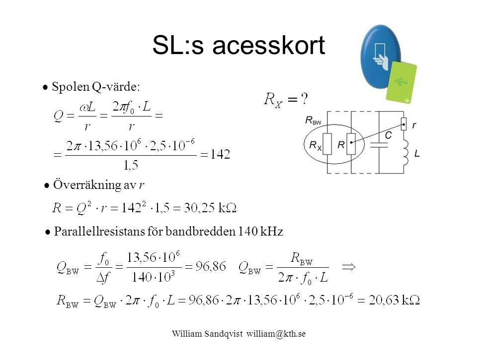 SL:s acesskort William Sandqvist william@kth.se  Spolen Q-värde:  Överräkning av r  Parallellresistans för bandbredden 140 kHz